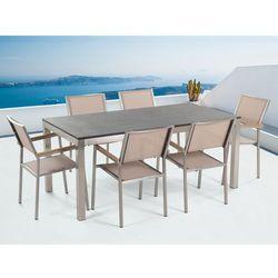 Meble ogrodowe - stół granitowy – cała płyta - 180 cm czarny palony z 6 beżowymi krzesłami - grosseto wyprodukowany przez Beliani