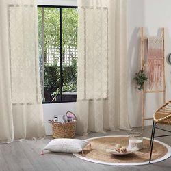 Stylowa poliestrowa firana z motywem rąbów w rozmiarze 140x240, kolor lniany