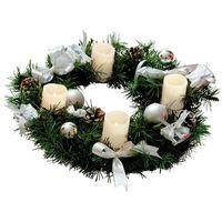 Wreath - korona świerk świeczki/wstążka srebrny led Ø40cm marki Xmas living glass