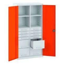 Szafa warsztatowa metalowa 4 pólki 12 szuflad zamykana SL 163.21