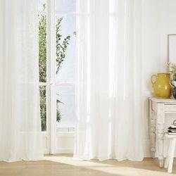 Biała, stylowa zasłona o wymiarach 135x240 cm, delikatnie zaciemniająca, z metalowymi kółkami, oczkami do łatwego zawieszania (3560239696285)