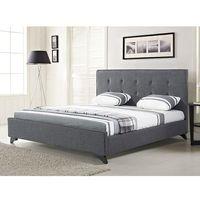Nowoczesne łóżko tapicerowane ze stelażem 140x200 cm szare ambassador marki Beliani