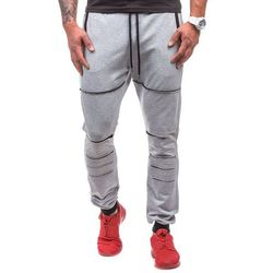 Szare spodnie dresowe męskie Denley 0469 - SZARY, ATHLETIC