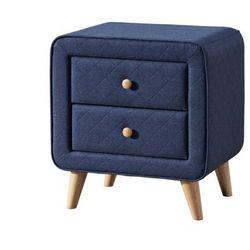 Szafka nocna w stylu skandynawskim ELIDE – 2 szuflady – Tkanina w kolorze niebieskim