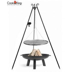 Zestaw 3w1 grill z kołowrotkiem stal czarna 60cm + palenisko polo 70cm marki Cook&king