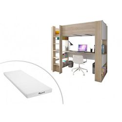 Łóżko antresola NOAH z biurkiem i półkami – 90 × 190 cm – materac STELO KIDS 90 × 190 cm