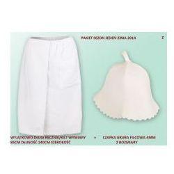 Kilt ręcznik 85*140cm 100% bawełna + czapka biała do sauny gruba z marki Produkcja własna