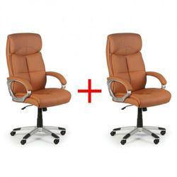 Skórzany fotel biurowy Foster, jasnobeżowy, 1+1 GRATIS