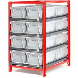 Regał przemysłowy 4 półki 200 kg wysuw 70% 16 pojemników marki Array