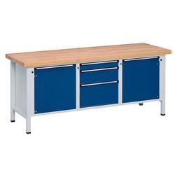 Stół warsztatowy, stabilny, 2 drzwi 540 mm, 3 szuflady, lite drewno bukowe, częś