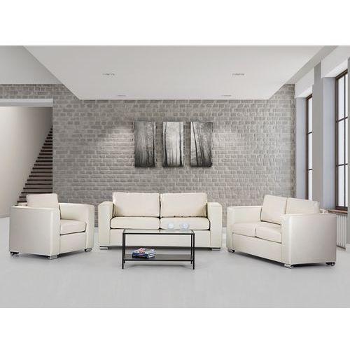 Sofa skórzana bezowa 2 x sofy, 1 x fotel HELSINKI, produkt marki Beliani