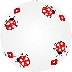 Britop lighting Lampa dla dziecka biedronka - plafon fly biały/ chrom led 12w 30cm