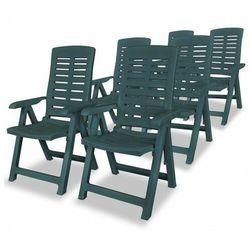 Elior Vidaxl rozkładane krzesła ogrodowe, 6 szt., plastikowe, zielone