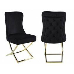 Krzesło tapicerowane y-2009 czarny welur / złote nogi marki Meblin