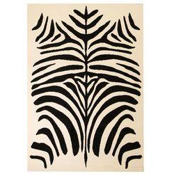 Nowoczesny dywan, wzór zebry, 140x200 cm, beżowo-czarny