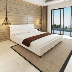rama łóżka 180 x 200 cm biała sztuczna skóra z pikowanym zagłówkiem marki Vidaxl
