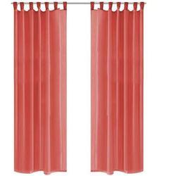 Vidaxl Zasłony z woalu, 2 sztuki, 140 x 225 cm, kolor czerwony
