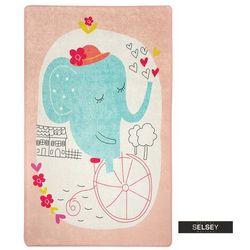 dywan do pokoju dziecięcego dinkley słoń różowy 140x190 cm marki Selsey