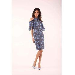 Nommo Niebieska dopasowana sukienka wiązana na karku z falbankami
