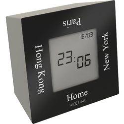 Zegar stołowy Nextime Turn4Time czarny, kolor czarny