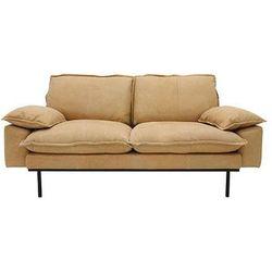 Hk living Sofa retro 2-osobowa skórzana w kolorze naturalnym -