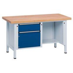 Anke werkbänke - anton kessel Stół warsztatowy, stabilny, 1 szuflada, drzwi 360 mm, ½ blatu, lite drewno bukow
