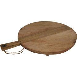 Drewniana deska do krojenia i serwowania posiłków - kuchenna, okrągła z rączką i nóżkami, 58 x 46 cm (8719202486148)