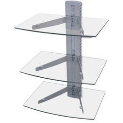 Trój poziomowa szklana półka mocowana do ściany na DVD, produkt marki vidaXL
