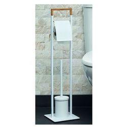 Zestaw wc nikolaos: uchwyt na papier i szczotka wc – metal i bambus – kolor biały i drewna marki Vente-unique.pl