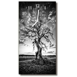 Tulup.pl Zegar szklany pionowy natura drzewo czarno-biały