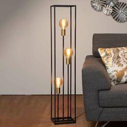 ruben 00724/03/30 lampa stojąca podłogowa 3x40w e27 czarna/satynowy mosiądz marki Lucide