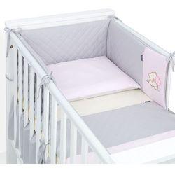 MAMO-TATO 3-el dwustronna pościel pikowana dla niemowląt 100x135 Szary / jasny róż