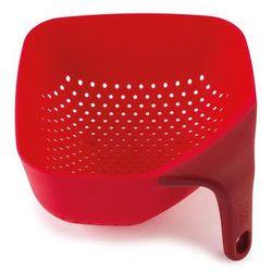 Mały, kwadratowy durszlak z silikonową rączką JJ 40049 czerwony Plus