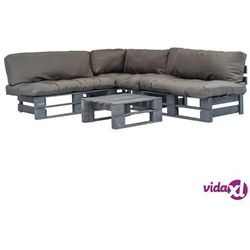 Vidaxl ogrodowe meble z palet, 4 cz., drewno fsc + szare poduszki