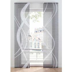 Firana panelowa z graficznym cyfrowym nadrukiem (2 szt.) szaro-biały marki Bonprix