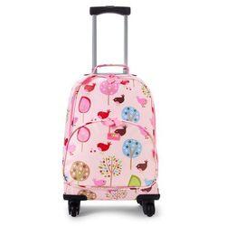 Penny Scallan Design, walizka na czterech kółkach, różowy w ptaszki (walizeczka dziecięca)