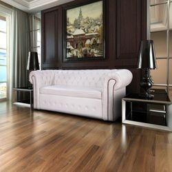 Skórzana sofa Chesterfield Biały, vidaXL