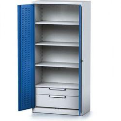 B2b partner Szafa warsztatowa mechanic, 1950 x 920 x 500 mm, 3 półki, 2 szuflady, niebieskie drzwi
