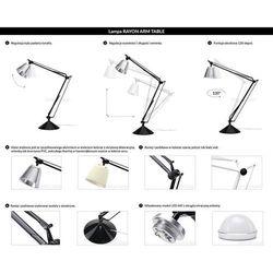 King home Lampa biurkowa rayon arm table biała - led, klosz z akrylu (5900000049762)