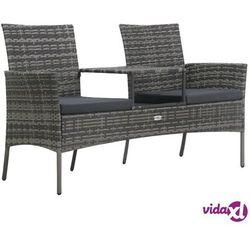 Vidaxl dwuosobowa sofa ogrodowa ze stolikiem, polirattan, antracyt