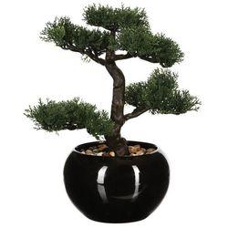 Atmosphera créateur d'intérieur Sztuczna drzewko bonsai, w ceramicznej doniczce, sztuczne kwiaty, uniwersalna dekoracja, ozdoba pokoju, biura, czarna doniczka, egzotyka (3560238564684)