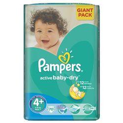 PAMPERS Active Baby 4+ MAXIPLUS 70 szt.(9-16kg) GIANT PACK – pieluszki jednorazowe - sprawdź w wybranym