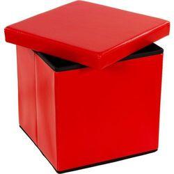 Pufa ze schowkiem składana czerwona