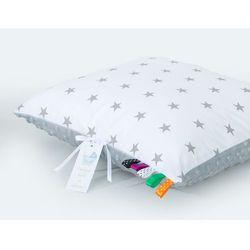 poduszka minky dwustronna 40x40 gwiazdki szare na bieli / jasny szary marki Mamo-tato