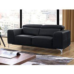 Sofa 2-osobowa z materiału skóropodobnego wanaka - czarny marki Vente-unique