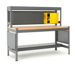 Stół roboczy combo, z panelem narzędziowym, oświetleniem i szafką, dąb marki Aj produkty