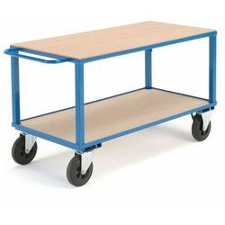 Wózek warsztatowy, bez hamulców, 2 koła skrętne, 600 kg, 1400x700x830 mm, 30115