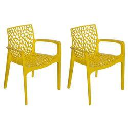 Zestaw 2 foteli ogrodowych DIADEME z możliwością ułożenia w stos – Polipropylen – Kolor żółty