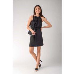 Czarna trapezowa sukienka wiązana na karku, trapezowa