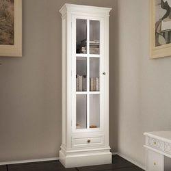 Vidaxl witryna drewniana z 3 półkami, biała (8718475832577)